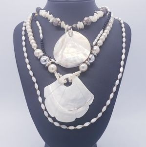 Lot of 4 Necklaces Mother-of-Pearl Shell Pendants